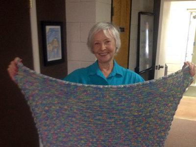 Aileen McIntyre making beautiful blankets for BOC seniors.