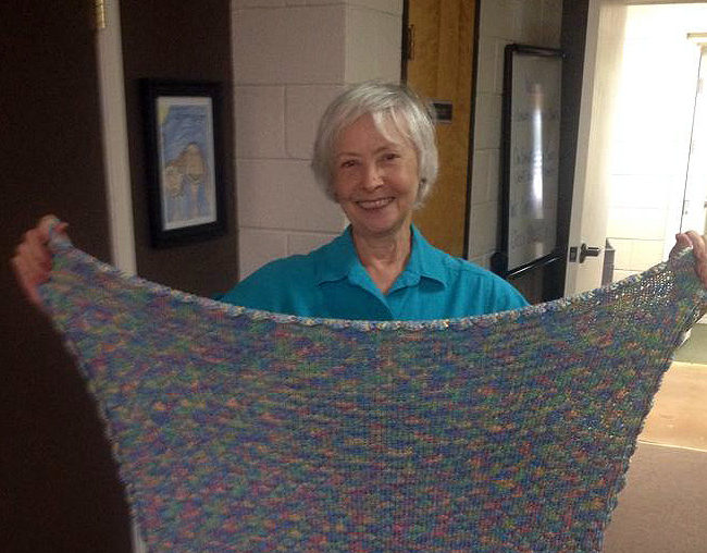 Aileen McIntyre making beautiful blankets for BOC seniors.