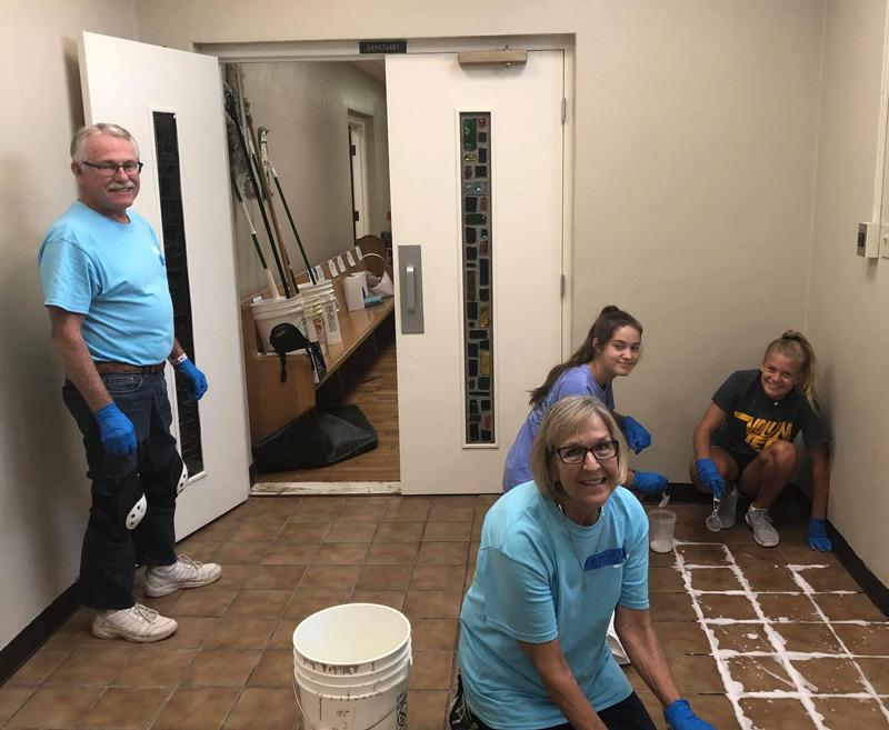 Asbury volunteers working at the BOC.